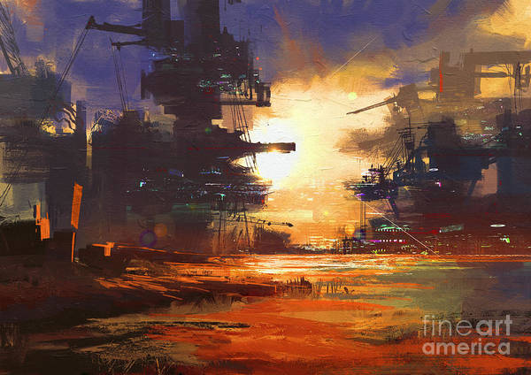 Wall Art - Digital Art - Mega Structure In Sci-fi City At by Tithi Luadthong
