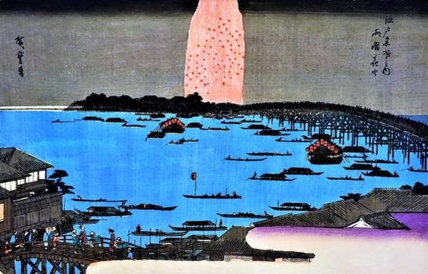 Wall Art - Painting - Meishoedohyakkei-ryogoku Firework - Digital Remastered Edition by Utagawa Hiroshige