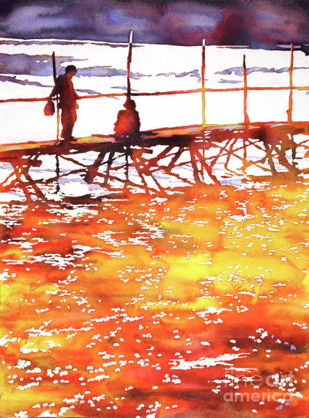 Wall Art - Painting - Mekong River Meeting by Ryan Fox
