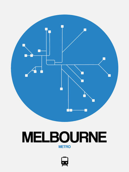 Wall Art - Digital Art - Melbourne Blue Subway Map by Naxart Studio