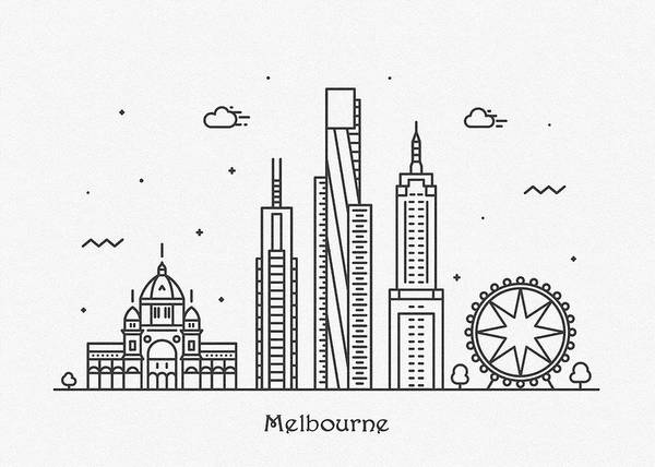 Victoria Drawing - Melbourne Cityscape Travel Poster by Inspirowl Design