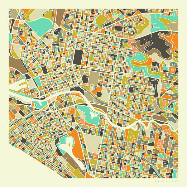Melbourne Wall Art - Digital Art - Melbourne Map 1 by Jazzberry Blue
