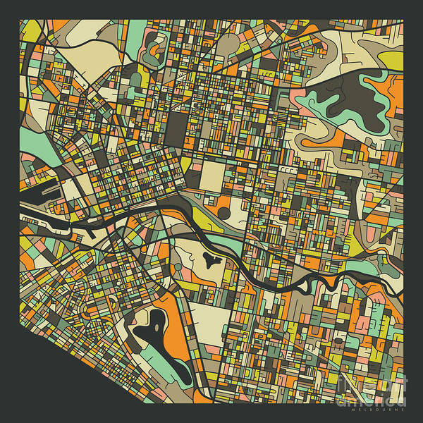 Wall Art - Digital Art - Melbourne Map 2 by Jazzberry Blue