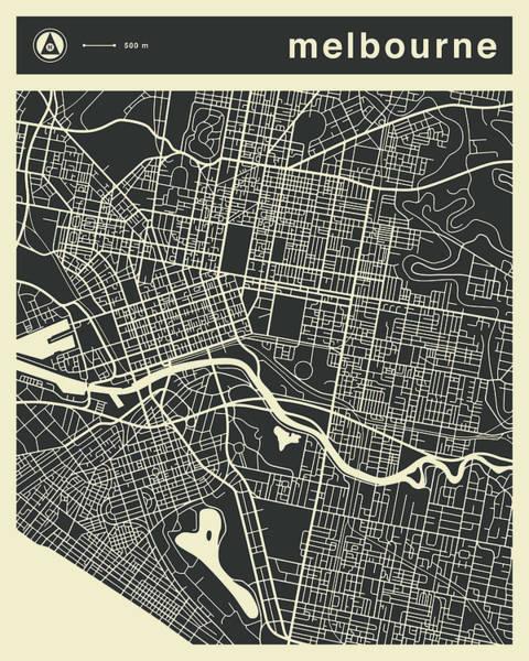 Melbourne Wall Art - Digital Art - Melbourne Map 3 by Jazzberry Blue