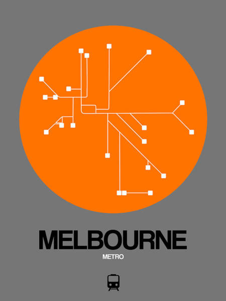 Wall Art - Digital Art - Melbourne Orange Subway Map by Naxart Studio