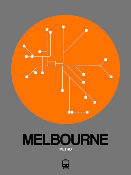 Wall Art - Digital Art - Melbourne Orange Subway Map by Naxart Studio