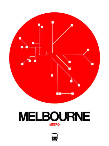 Wall Art - Photograph - Melbourne Red Subway Map by Naxart Studio