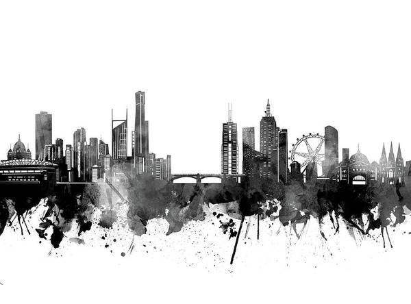 Wall Art - Digital Art - Melbourne Skyline Bw by Bekim M