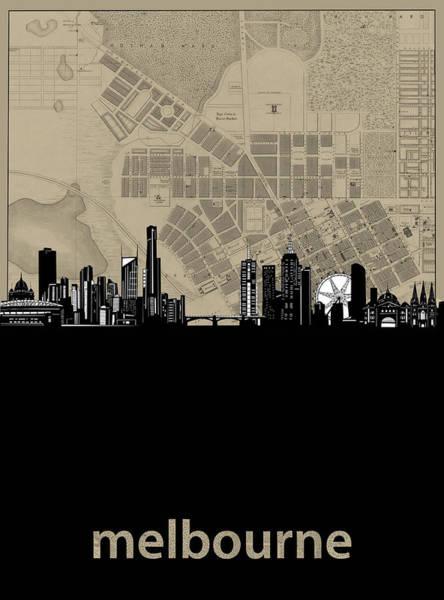 Wall Art - Digital Art - Melbourne Skyline Map by Bekim M