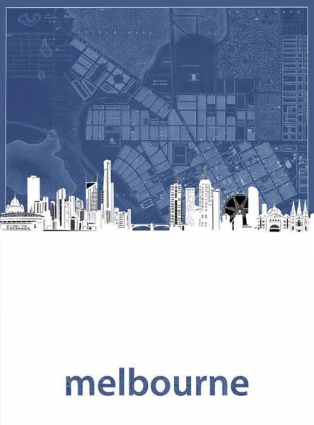 Wall Art - Digital Art - Melbourne Skyline Map Blue by Bekim M