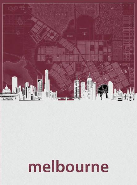 Wall Art - Digital Art - Melbourne Skyline Map Red by Bekim M