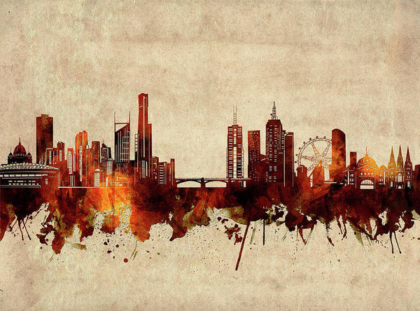 Wall Art - Digital Art - Melbourne Skyline Sepia by Bekim M