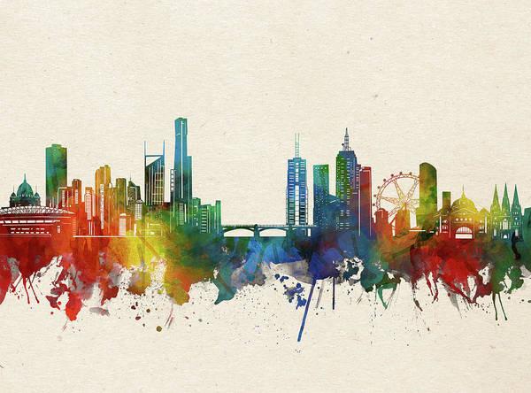 Wall Art - Digital Art - Melbourne Skyline Watercolor by Bekim M