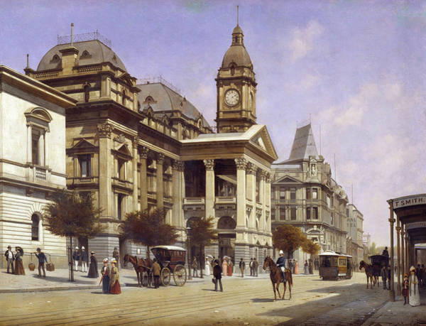 Wall Art - Painting - Melbourne Town Hall And Swanston Street, 1889 by Jacques Carabain