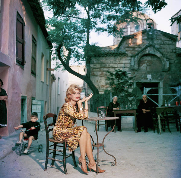 Square Photograph - Melina Mercouri by Slim Aarons