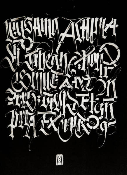 Drawing - Melody Of Letters. Calligraphic Abstract by Dmitry Mandzyuk