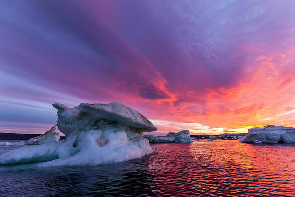 Wall Art - Photograph - Melting Sea Ice At Sunset, Hudson Bay by Paul Souders
