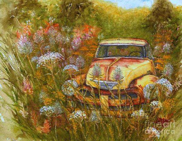Old Chevy Truck Painting - Memories Are Golden - Old Yellow Chevy Pick Up Truck by Janine Riley