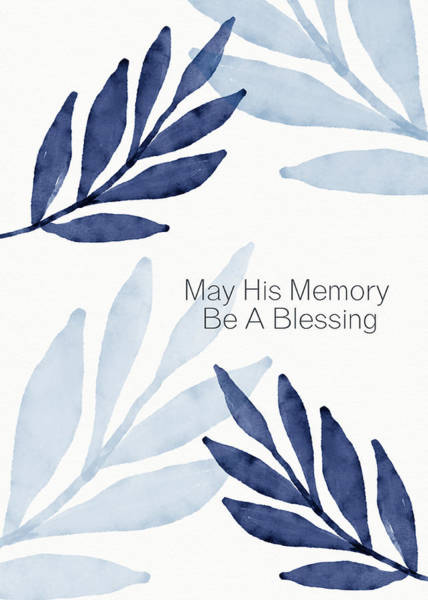 Jewish Art Wall Art - Mixed Media - Memory Blessing Blue- Art By Linda Woods by Linda Woods