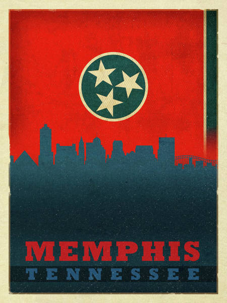 Memphis Design Wall Art - Mixed Media - Memphis City Skyline State Flag Of Tennessee by Design Turnpike