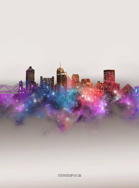 Memphis Design Wall Art - Digital Art - Memphis Skyline Galaxy by Bekim M