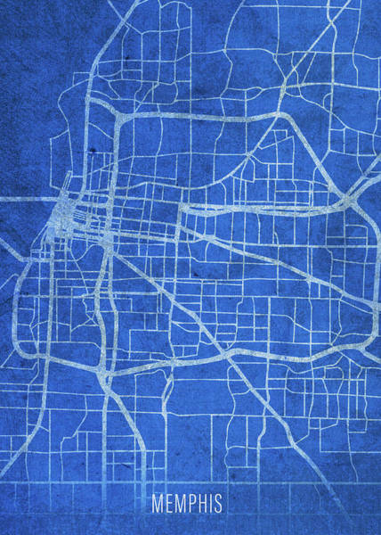 Wall Art - Mixed Media - Memphis Tennessee City Street Map Blueprints by Design Turnpike