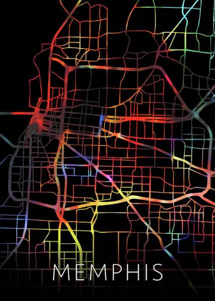 Memphis Design Wall Art - Mixed Media - Memphis Tennessee Watercolor City Street Map Dark Mode by Design Turnpike