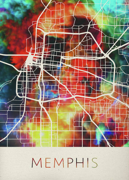 Memphis Design Wall Art - Mixed Media - Memphis Tennessee Watercolor City Street Map by Design Turnpike