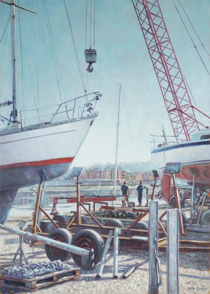 Painting - Men At Northam Southampton Boat Yard by Martin Davey