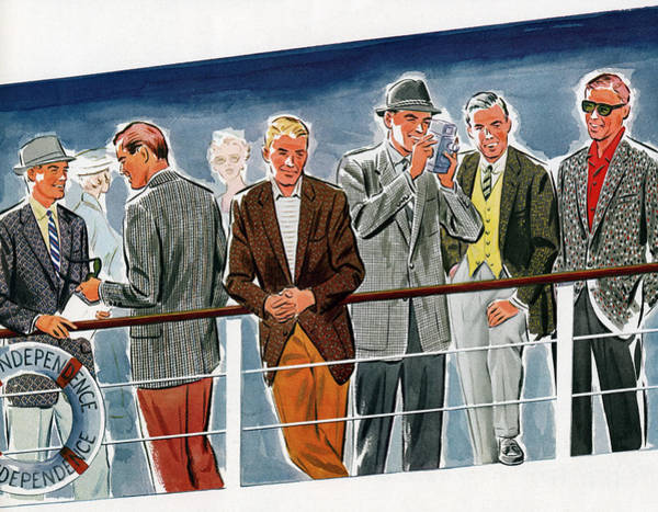 Archival Digital Art - Men At Railing Of Cruise Ship by Graphicaartis