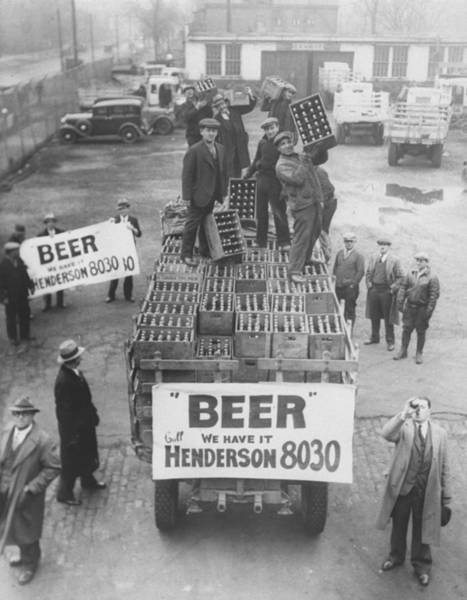 Men Atop Beer Delivery Truck W. Sign Re Art Print by Time Life Pictures
