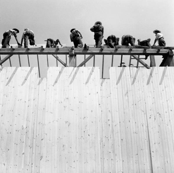 Barn Photograph - Men Constructing Barn, Low-angle View by Hulton Archive