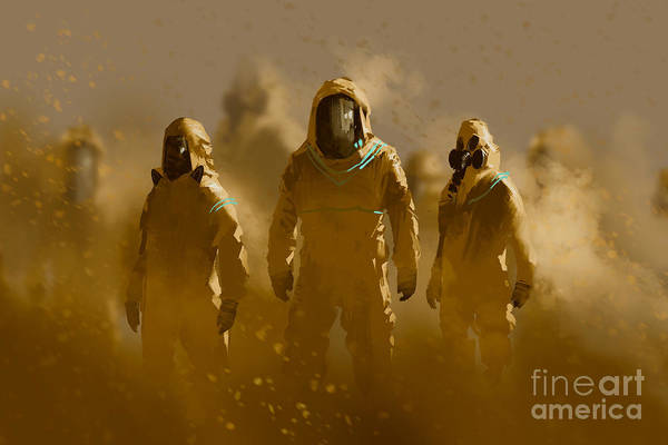 Wear Wall Art - Digital Art - Men In Protective Suit,outbreak by Tithi Luadthong