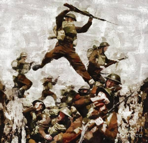 Dday Wall Art - Painting - Men Of The Black Watch Wwii by Mary Bassett