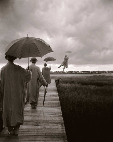 Dress Photograph - Men With Umbrellas Flying  Into Sky by Bryce Lankard