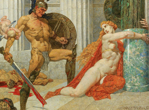 Wall Art - Painting - Menelaus Finds Helen by Alexander Rothaug