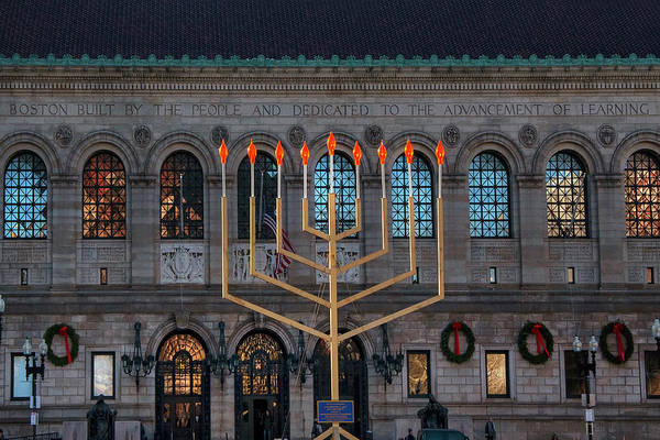 Photograph - Menorah In Copley Square by Joann Vitali