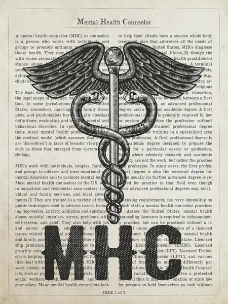 Wall Art - Digital Art - Mental Health Counselor Gift Idea With Caduceus Illustration 01 by Aged Pixel