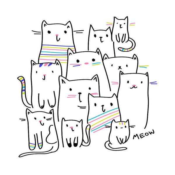 Digital Art - Meow Kitties - Baby Room Nursery Art Poster Print by Dadada Shop