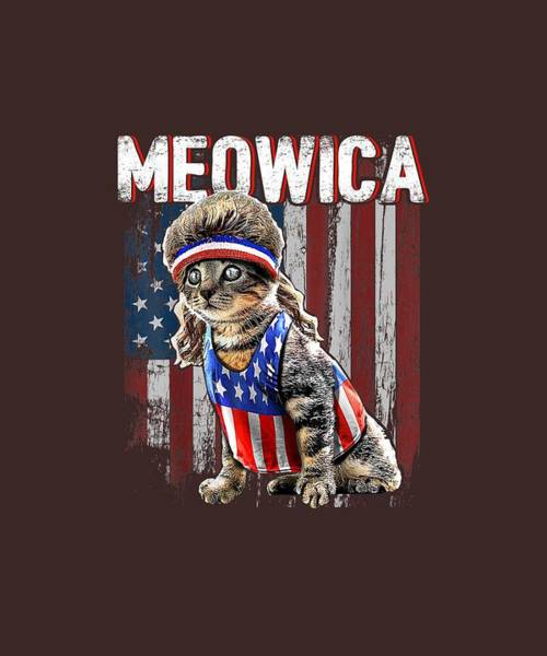 Wall Art - Digital Art - Meowica Cat Mullet American Flag Patriotic 4th Of July Shirt by Unique Tees
