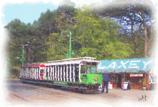 Wall Art - Digital Art - Mer Tram At Laxey Station by Digital Painting