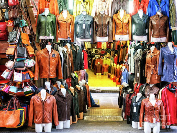 Photograph - Mercato Di San Lorenzo Leather Colors In Florence by John Rizzuto