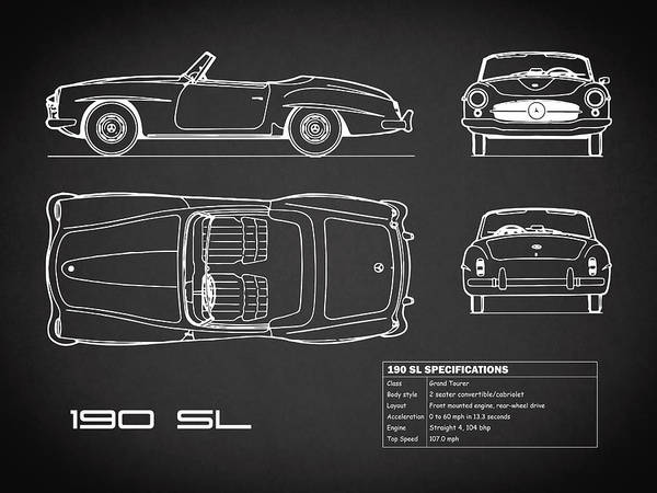 Mercedes Photograph - Mercedes 190 Sl Blueprint - Black by Mark Rogan
