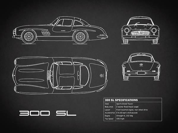 Mercedes-benz 300 Sl Wall Art - Photograph - Mercedes 300 Sl Blueprint - Red by Mark Rogan