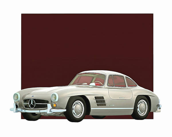 Digital Art - Mercedes 300sl Gullwings 1964 by Jan Keteleer
