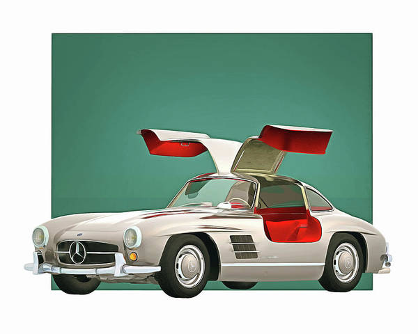 Digital Art - Mercedes 300sl Gullwings Open 1964 by Jan Keteleer