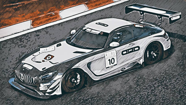 Painting - Mercedes Amg Gt3 - 62 by Andrea Mazzocchetti