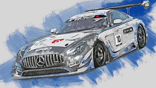 Painting - Mercedes Amg Gt3 - 64 by Andrea Mazzocchetti