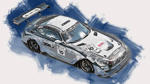 Painting - Mercedes Amg Gt3 - 75 by Andrea Mazzocchetti