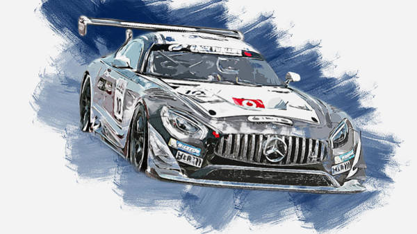 Painting - Mercedes Amg Gt3 - 76 by Andrea Mazzocchetti